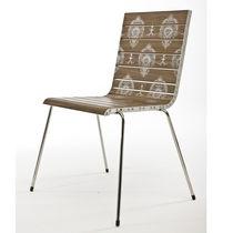 Silla moderna / de madera / de acero inoxidable pulido / contract