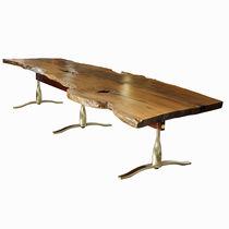 Mesa de comedor de diseño original / de caoba / de latón / rectangular