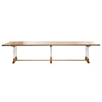 Mesa de comedor clásica / de roble / de aluminio fundido / rectangular