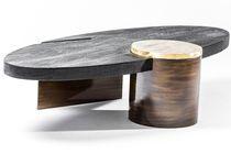Mesa de centro moderna / de madera / de latón / de acero