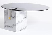 Mesa de centro moderna / de vidrio / de mármol / de latón