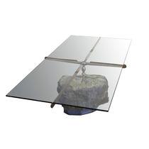 Mesa de centro de diseño original / de vidrio / de piedra / de acero