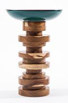 Mesita auxiliar moderna / de madera / de cobre / redonda