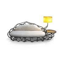 Sofá de diseño orgánico / de tejido / de metal lacado / de fibra de vidrio