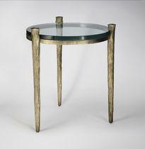 Mesa auxiliar / clásica / de vidrio / de hierro