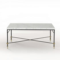 Mesa de centro clásica / de vidrio / de latón / de hierro