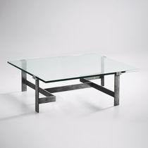 Mesa de centro clásica / de vidrio / de metal pintado / de hierro forjado