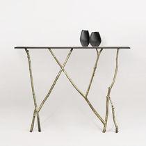Mesa consola / de diseño orgánico / de vidrio / de bronce