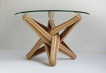 Mesa de centro de diseño original / de bambú / de vidrio templado / redonda