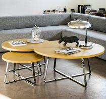 Mesa de centro moderna / de metal / de cuero / redonda