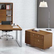 Armario de oficina bajo / de madera / con puerta abatible / con cajones