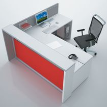 Mostrador de recepción de esquina / de madera / de aluminio anodizado / de PMMA