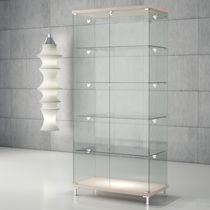 Vitrina moderna / de pie / de vidrio / de madera