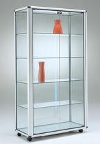 Vitrina moderna / de pie / de vidrio / de aluminio