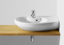Lavabo suspendido / ovalado / de porcelana / moderno