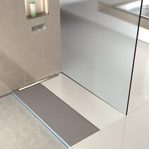 Plato de ducha cuadrado / de fibra de vidrio / de hormigón / de poliestireno