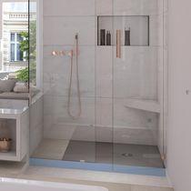 Plato de ducha cuadrado / de cerámica / extraplano / a ras de suelo