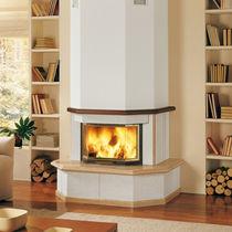 Marco para chimenea moderno / de madera / de piedra