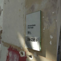 Placa de señalización de pared / de acero inoxidable / en braille / de interior