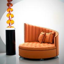 Banqueta de diseño nuevo barroco / de tela / de interior / naranja