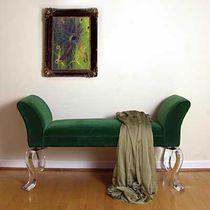 Banqueta clásica / de tela / de interior / verde