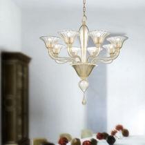Lámpara araña clásica / de vidrio soplado / de cristal de Murano / de metal
