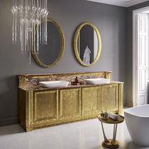Mueble de lavabo doble / de pie / de madera / de mármol