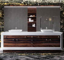 Mueble de lavabo doble / de pie / de madera / de acero