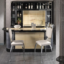 Mueble bar moderno / de madera lacada / de cuero / con luz