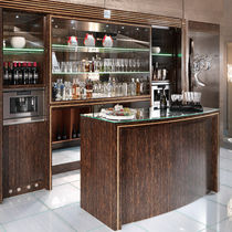 Mostrador de bar / de vidrio / de madera / recto