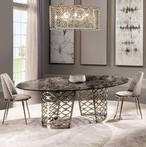 Mesa moderna / de metal / de mármol / ovalada