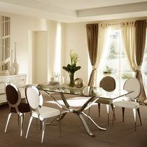 Mesa moderna / de vidrio / de hierro / rectangular