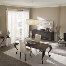 Mesa de diseño nuevo barroco / de madera / de vidrio ahumado / de granito