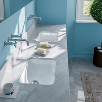 Lavabo bajo encimera / rectangular / de cerámica / moderno
