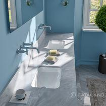 Lavabo doble / bajo encimera / rectangular / de cerámica