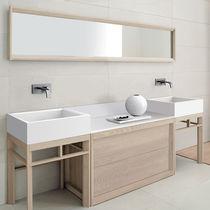 Mueble de lavabo doble / de pie / de fresno / moderno