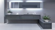 Mueble de lavabo doble / suspendido / de fresno / moderno