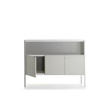 Aparador moderno / de chapa / con estantes / con paneles de vidrio