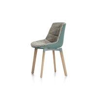 Silla de comedor moderna / tapizada / con cojín amovible / de madera