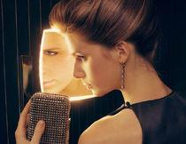Espejo de pared / moderno / cuadrado / con luz LED