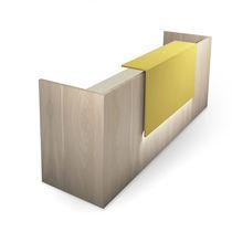 Mostrador de recepción de esquina / de madera / con luz