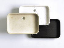 Lavabo sobre encimera / rectangular / de piedra natural