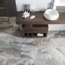 Placa de piedra de mármol / pulida / para revestimiento interior / gris