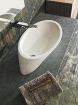 Lavabo sobre encimera / redondo / de piedra natural / moderno