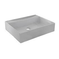 Lavabo sobre encimera / rectangular / de cerámica / moderno