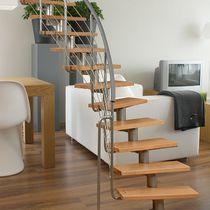 Escalera circular / peldaño de madera / estructura de acero inoxidable / sin contrahuellas