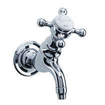 Grifo monomando para lavabo / de pared / de metal cromado / de latón