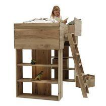 Cama simple / alta / moderna / de madera