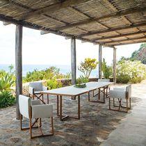 Mesa moderna / de wengué / de aluminio barnizado / rectangular