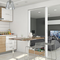Mesa de comedor moderna / de madera / de metal / plegable